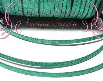 3mm Emerald Green Glitter Faux Suede Leather Flat Cord 5 yards, Bracelet Making, Necklace Cord, DIY Jewelry Cord, Jewelry String