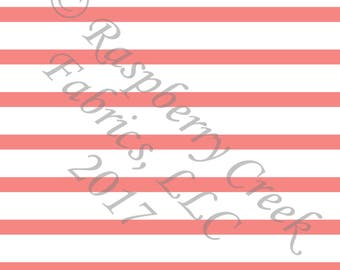 Coral and White Stripe 4 Way Stretch FRENCH TERRY Knit Fabric, Club Fabrics