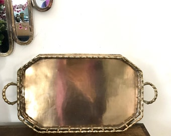 Large Rectangle Vintage Faux Bamboo Brass Serving Tray