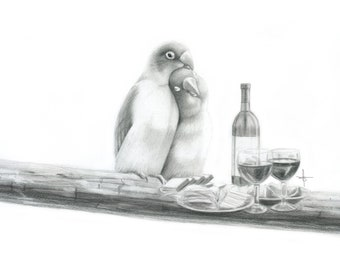 12x16 Inch Illustration Print - 'Love Birds'