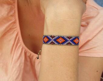 Huichol Native American Inspired Blue Beaded Bracelet C
