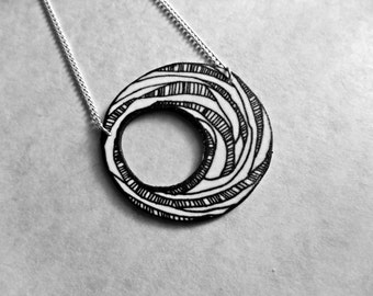 Surreal Circle and Stripes Spiral Necklace