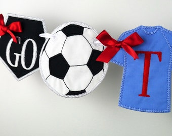 Association Football Banner ITH Project Applique Machine Embroidery Design Patterns all done in the hoop 3 variations Soccer