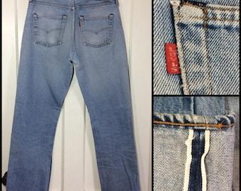 distressed faded Levi's 501 denim blue Jeans 32x34 measures 31x31 original hem redline selvedge black bar stitch button fly Boyfriend #295
