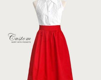 Cotton gathered skirt with pockets - custom size, length high waist skirt - black navy blue green plum gray