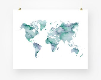 Turquoise world map etsy world map watercolor printable blue world map printable blue turquoise wall decor digital download world map download world map wall art gumiabroncs Images