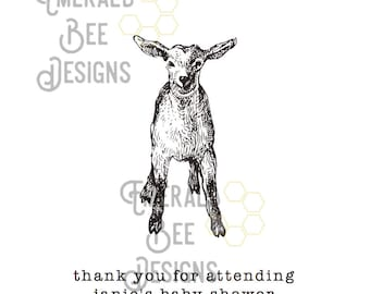 Lamb Themed Baby Shower Favor Bag Digital Download