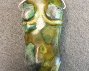 Lesley-Metallic Camo Polymer Clay Torso Pendant