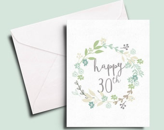Happy 30th birthday card for a friend, sister, colleague or BFF