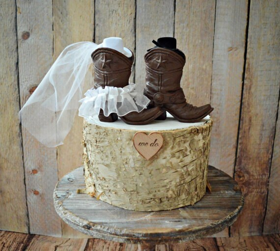 Cowboy boots wedding cake topper-Texas-country wedding-Rustic