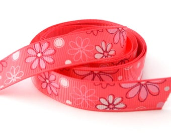 Pink printed flowers grosgrain 16 mm