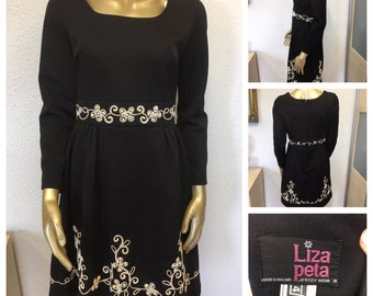 1960's Black and White Embroidered Dress by Liza Peta - Size 12