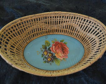 Vintage German Wicker and Tin Metal Basket with Roses Made in Germany Shabby Chic 1950's Original