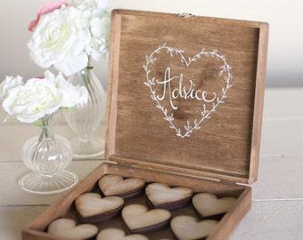 Rustic Wedding Guest Book Alternative Bridal Shower Keepsake Advice Box Baby Shower Gift
