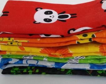 Kids Cloth Napkin Set of 6 // Rainbow Animals // Lunchbox Napkins // Kids Handkerchief // Party Favor // Stocking Stuffer //Gift for Kids