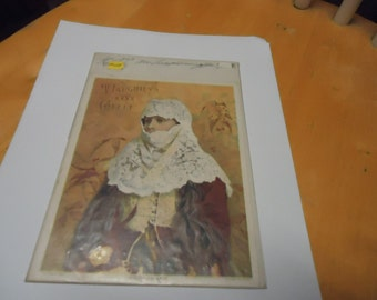 Vintage 1893 Mc Laughlin's XXXX Coffee Advertisement in plastic named Jerusalem Lady, collectble,