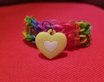 Rainbow loom bracelet with heart charm