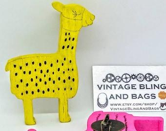 YELLOW handmade pin, yellow llama pin, yellow llama brooch, handmade wooden llama pin, handmade llama pin, handmade llama brooch, alpaca pin