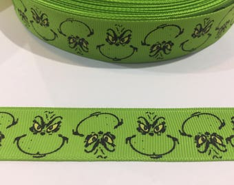 "3 Yards of 7/8"" Ribbon - Green Face of The Grinch Who Stole Christmas"