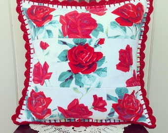 vintage red roses patchwork pillow cover 16x16