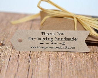 150 TAGS | Arrow Shaped Custom Tags - Thank You Tags - Price Tags - Your Logo and Text - Flag Bunting Banner | BT02BL