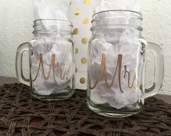 Mr. and Mrs. Mason jars with handle. 16oz - set of two