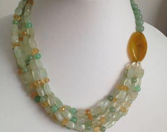 Statement Necklace .Fluorite Necklace . Multi-stone Necklace .Multi-strand Necklace .Beaded Necklace .