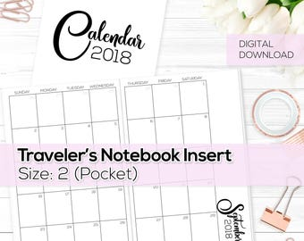Monthly Calendar 2018 - TN Inserts - Pocket / Size No. 2 | TN-MO2P-18-2-D Digital Download Printable