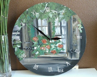 wall clock oil painting
