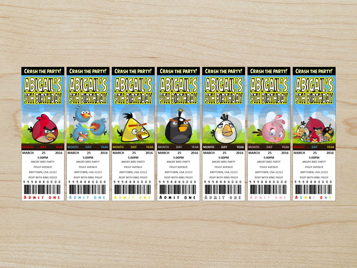 Angry Birds invitation Angry Birds Party Angry Birds