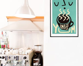 Coffee Print, Coffee Decor, Gift Coffee Lover, Breakfast Nook Decor, Coffee Poster, Wall Art Kitchen, Gift for Brother or Sister, Retro Art