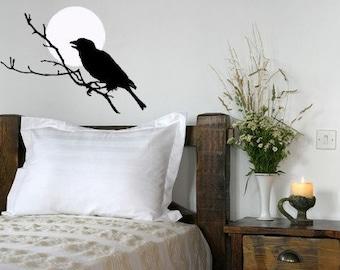 Raven Decal, Full Moon, Vinyl Wall Decal, Edgar Allen Poe, Nevermore