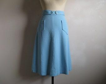 Vintage 1960s Wrap Skirt 60s  Pertini Light Blue Wrap Around Skirt Large