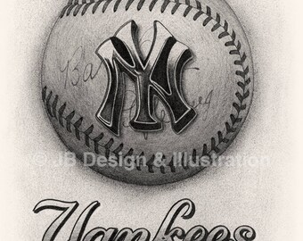 New York Yankees 7.1 x 11 Pencil Drawing