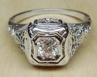 Vintage Antique .25ct Old European Cut Diamond 18k White Gold Engagement Ring 1920's Art Deco Filigree