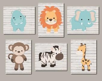 Zoo Animal Nursery Art, Prints Or Canvas, Jungle Animals, Safari Animals, Nursery Wall Art, Boy Nursery Art, Animal Nursery, Set of 6