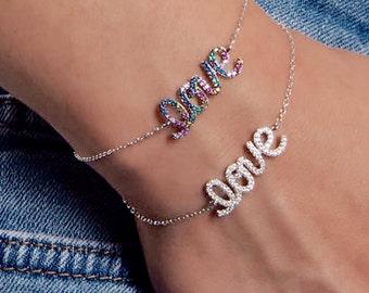 Rainbow Bracelet Rainbow Jewelry Unicorn Jewelry Love Bracelet Charm Bracelet Dainty Bracelet Gift for Her Sister Bracelet Love Bracelet