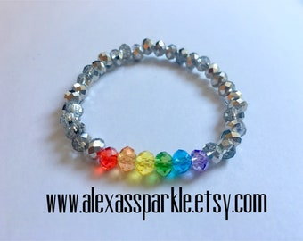 Pride LGBT clear-silver crystal bead bracelet - Pulsera de piedritas de cristal colores Pride LGBT