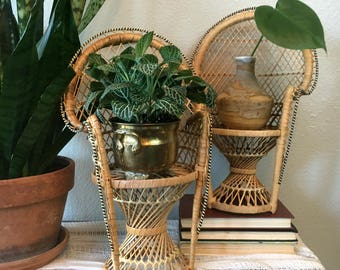 "Vintage Mini Wicker Peacock Chair / 16"" Peacock Chair Plant Stand / 1970's Doll Chair"