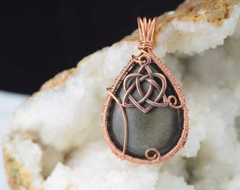 Gold Obsidian - Wire wrapped copper wire pendant