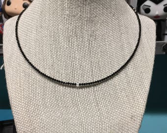Black spinel and moonstone necklace
