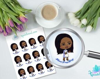 Shaneice Meal Prep XQuibi African Erin Condren Planner Sticker Set/ Happy Planner Meal Planning Reminder Stickers/ Black Girl Kawaii Sticker