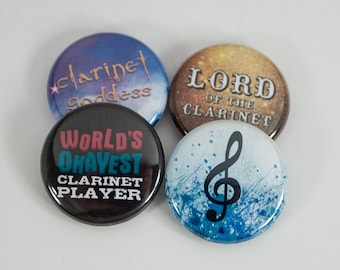 World's Okayest Clarinet Player plus three Band and Music Buttons or Magnets - CL 6