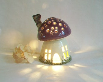Night Light/ Fairy House - Purple-Plum Roof,  Mushroom with Starry Sky - Handmade on the Potters Wheel , Hand-painted - True One of a Kind