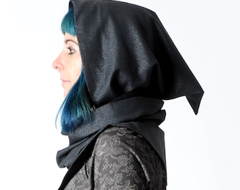 Sparkly black hooded scarf, Glittery black cowl with hood, Pixie hooded cowl in sparkly black wool, MALAM
