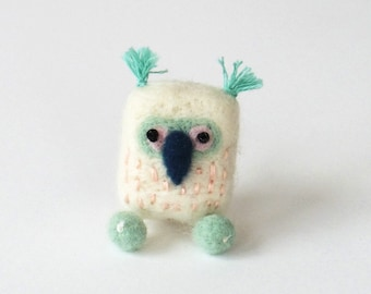 Owl brooch, felt bird pin, needle felted miniature owl - white, ice blue and pink, woodland gift for owl lovers