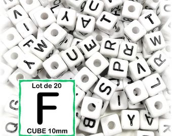 """20 pearls """"F"""" alphabet 10 mm - 10mm cube letter beads"""