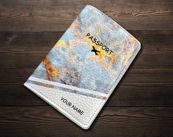 Marble Leather Passport Cover Passport Travel Leather Wallet Leather Passport Holder Gift Personalized Passport Covers Passport Case