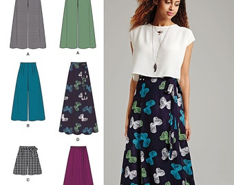 Simplicity Pattern 1069 Misses' Wide Leg Pants in Two Lengths or Shorts and Wrap Skirt in Two Lengths