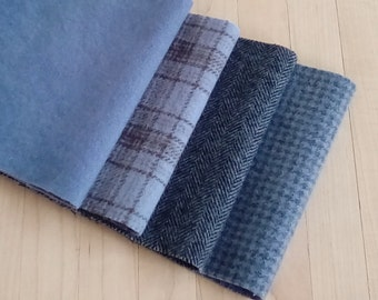 """Hand Dyed Felted Wool, COLONIAL BLUE , Four 6.5"""" x 16"""" pieces in Wedgewood Blue, Perfect for Rug Hooking, Applique', and Crafts"""